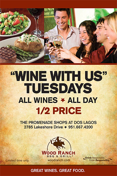 Wood Ranch BBQ and Grill - Wood Ranch BBQ & Grill Wine With Us Tuesdays Flyer